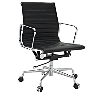 LexMod Ribbed Mid Back Office Chair in Black Genuine Leather