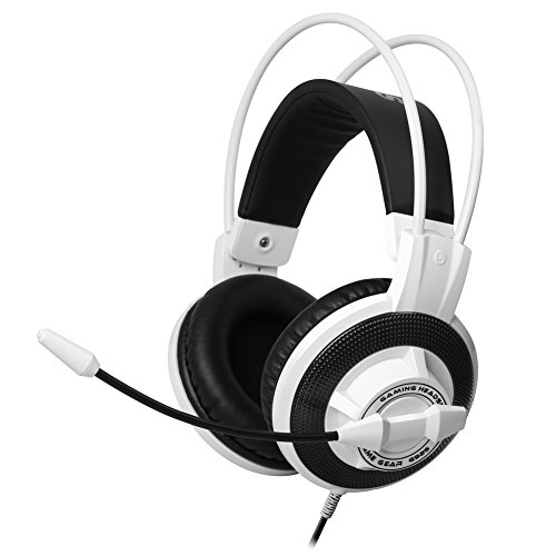 Gaming Headset, TNI Pro G925 Gaming Headset Powerful Bass Surround Sound Speaker 3.5mm Stereo/Mic Plugs In-line Volume Control Mic On/Off PC Gaming Headset (White)