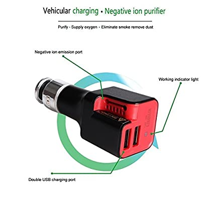 Atree Car Charger Car Air Purifier 10w USB Car Charger with 2-port Rapid USB for Iphone, Ipad Air 2, Samsung Galaxy, Nexus, Htc, Motorola, Nokia and More