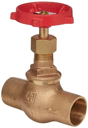 Milwaukee Valve 1502 Series Bronze Globe Valve, Class 125, Inline, Threaded Bonnet, Solder End