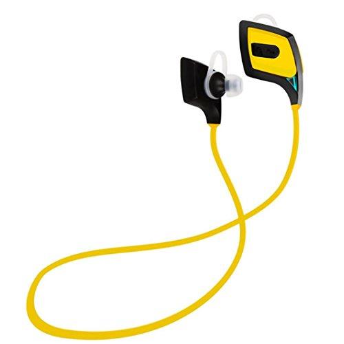 Kingko® Auricolare Bluetooth stereo per cuffie auricolari Sport Handfree universale per iPhone, Samsung (Giallo)