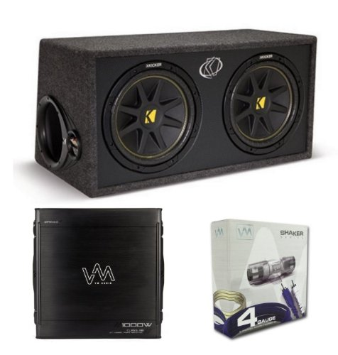 "Kicker Dc12 Dual 12"" 600W Loaded Car Audio Subwoofers Subs+Box+Amplifier+Amp Kit"