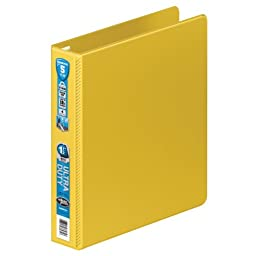 Wilson Jones Ultra Duty D-Ring Binder with Extra Durable Hinge, 1.5-Inch, Yellow (W876-34-129)
