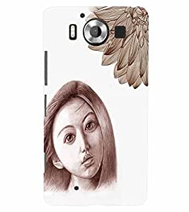 PrintVisa Stylish Cool Girl Sad Sketch 3D Hard Polycarbonate Designer Back Case Cover for Nokia Lumia 950