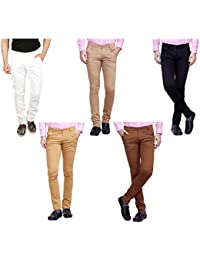 Nimegh White, Black, Maroon, Wine And Beige Color Cotton Casual Slim Fit Trouser For Men's (Pack Of 5)