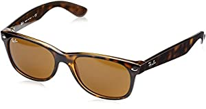 Ray-Ban New Wayfarer Sunglasses, 55mm, Shiny Avana Frame, Brown Crystal Lens RB2132-710-55