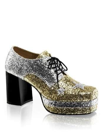 Mens 70s Disco Glitter Platform Shoes - S
