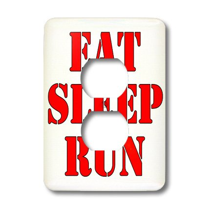 Lsp_194363_6 Evadane - Funny Quotes - Eat. Sleep. Run. Red. - Light Switch Covers - 2 Plug Outlet Cover front-282209