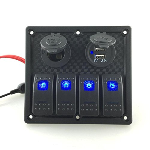 Paymenow 12V/24V 4 Gang Waterproof Double USB Power Socket Flush Mount Car Auto Boat Marine Blue LED Rocker Switch Panel Circuit Breakers for RV Car Boat (Chevy Truck Usb compare prices)