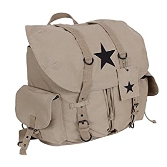 Rothco Backpack - Vintage Canvas With Black Star, Khaki