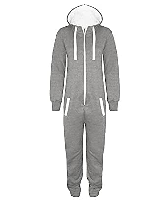 Grey 11-12 Years - Stacy New Girls Kids Boys Hooded Exposed Zip Front All in One Jumpsuit Onesie