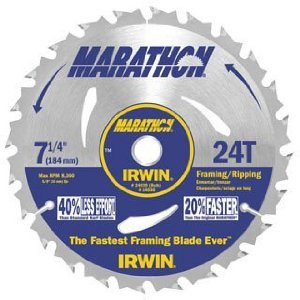 (75 Pack) Irwin 24030 Marathon 7-1/4-Inch 24 Tooth ATB Framing and Ripping Saw Blade with 5/8-Inch and Diamond Knockout Arbor
