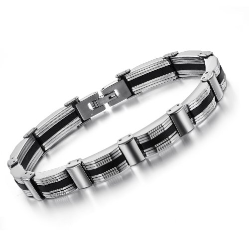 OPK-New Fashion Jewelry Black&Silver Cool Men's Titanium Stainless Steel Bracelet Bangle