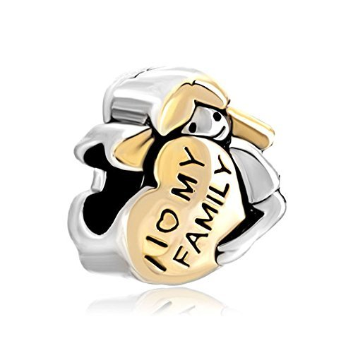 Pugster Heart Baby Girl Hugging I Love My Family Charm Sale Jewelry Beads Fits Pandora Charms Bracelet by Pugster