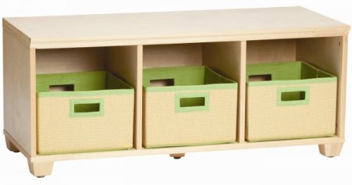 Alaterre Collection Natural Storage Bench with Baskets Natural Lime