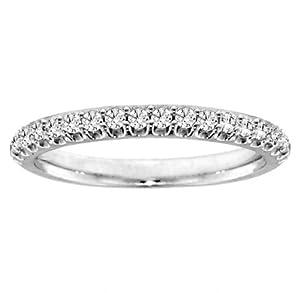 0.50 CT TW Round Cut Diamond Wedding Ring in Platinum - Size 6.5