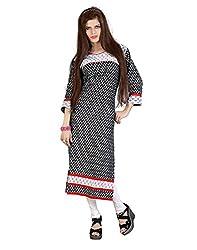 Lookslady Bollywood fashion Black 3/4th Sleeve Floral Print Cotton Casual Wear U Neck Long Designer Ready Made Kurti Kurta For Girls & Women