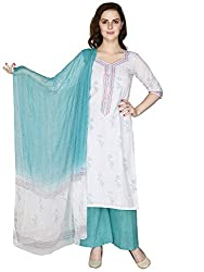 Pinkshink White Cotton Salwar Kameez Dress Material k101