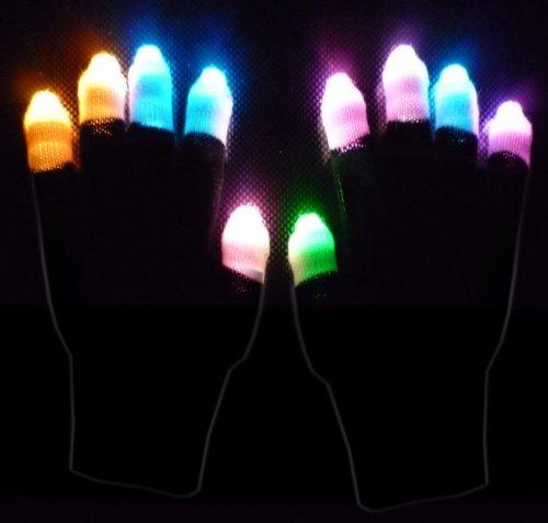 Rave Gloves - Black Ghost Pair Of Multicolor Raver Led Lightshow Gloves
