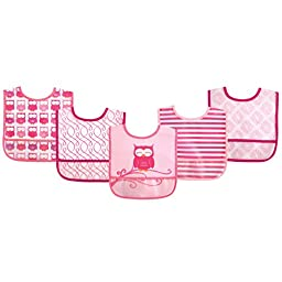Luvable Friends 5 Piece Waterproof Bibs with Crumb Catcher, Pink Owl