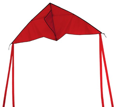 In the Breeze Colorfly 56-Inch Delta Kite with 2 Sets of 2 to 5-Feet Tails, Red