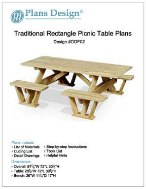 Traditional Rectangle Picnic Table / Bench Woodworking Plans, #Odf02 front-779347