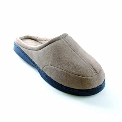 mens fleece lined classic slip on slippers shoes