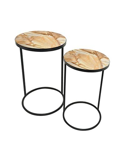 Three Hands Set of 2 Metal Tables, Yellow