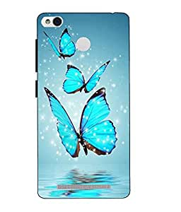 Case Cover Butterfly Printed Blue Hard Back Cover For Redmi 3S Prime