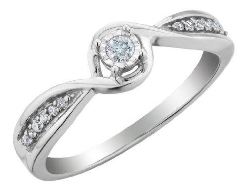 Diamond Promise Ring 1/8 Carat (ctw) in 10K White Gold