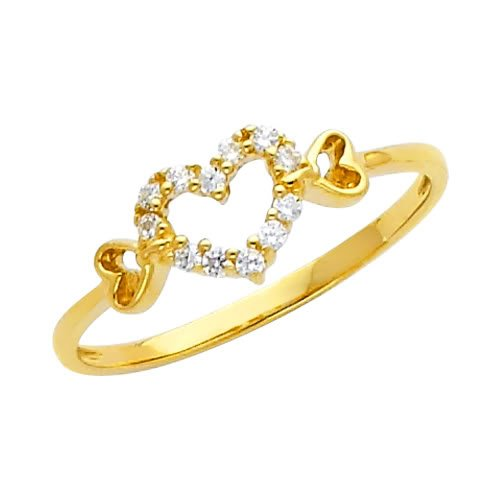 14K Yellow Gold High Poliosh Finish Heart Solitaire Round-cut Top Quality Shines CZ Cubic Zirconia Ladies Promise Ring Band - Size 9