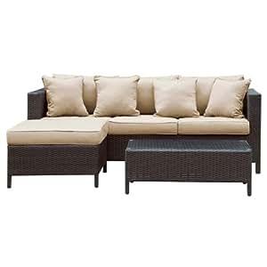 Wicker Outdoor Patio 3 Piece Sofa Set