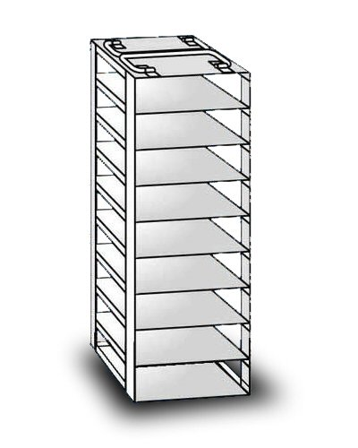 """So-Low 19-9-2 Rack For Chest Style Ultra-Low Freezers. 9 Shelves For 2"""" Boxes. front-455040"""