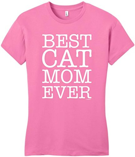 Best Cat Mom Ever Juniors T-Shirt Medium True Pink