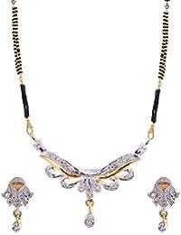 Jewelstone 22 K Gold & Rhodium Plated American Diamond Mangalsutra Set With Earrings & Triple Black Beaded Chain - B01FM9UIJQ