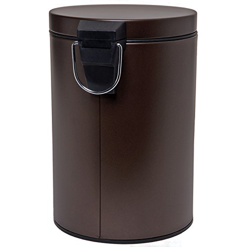 HOMEBASIX LYP0701 Small Step Round Trash Can, 7-Liter, 1.8 Gallon Venetian Bronze (Step Trash Can 5 Gallon compare prices)
