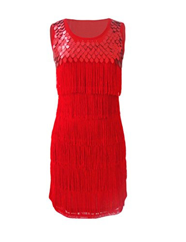 KAYAMIYA Women's 1920s Gatsby Layers Tassel Fringe Sequined Flapper Costume Dress