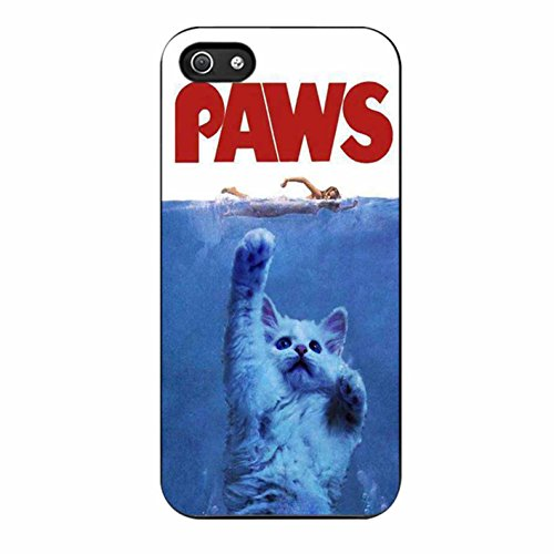 Paws Jaws Parody Funny Cat Attack iPhone 5 Case / iPhone 5s Case (Black Plastic)