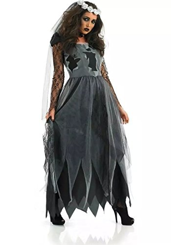 NonEcho Scary Halloween Costumes for Women Vampire Ghost Bride Outfit