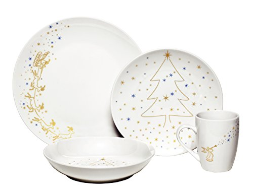 Melange Angels Christmas Ceramic 16-Piece Place Setting, Serving for 4 (Christmas Dishes compare prices)