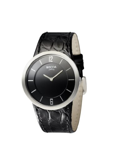 Boccia Ladies Titanium Black Leather Strap Watch B3161-07