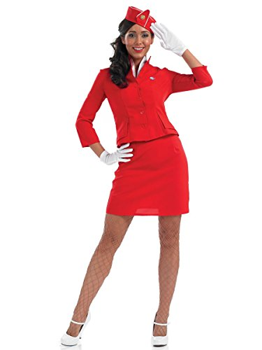 1980s Cabin Crew - Red Retro Adult Fancy Dress Costume. Up to XXL