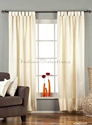 Cream Tab Top 90% blackout Curtain / Drape / Panel - 50W x 84L - Piece by Indian Selections