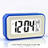 "HITO™ 6"" Alarm Clock w/ Date and Temperature Display, Snooze, White Background Light (at night), Touch-activated Light - Battery backup/USB powered (Blue)"