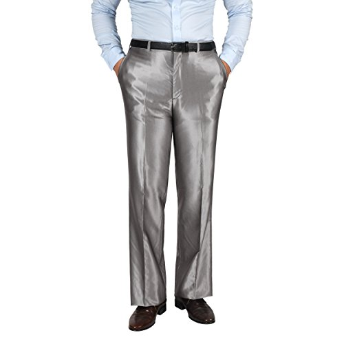 JEJEhomme Men's Straight Classic Fit Dress Pants Silver
