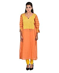 Damyantii Plus Siize Women's Khadi Round Neck Kurti in Size 40
