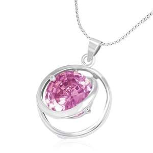 Mode Kristall offen Kreis Charm Halskette mit Schmuckstein - Rosa