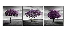 Canvas Print Wall Art Painting For Home Decor Green Lawn Landscape Meadow Purple Tree On Green Field With Wood Park Bench In Black And White Vintage