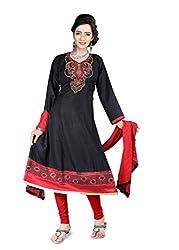 Shree Vardhman Synthetics Black Semi Cotton Top Straight Unstiched Salwar Suit Dress Material