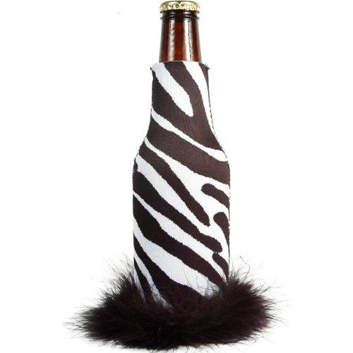 Longneck Koozie - Zebra/Black Trim